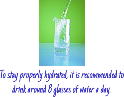 it is recommended to drink around 8 glasses of water a day.